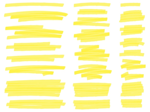 Highlight marker lines. yellow text highlighter markers strokes, highlights marking Free Vector