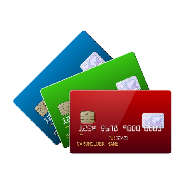 Highly detailed realistic glossy credit cards mock up set Premium Vector