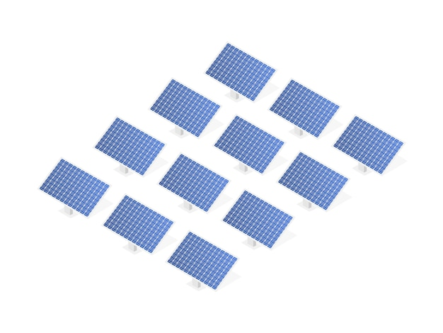 Highly detailed solar panel. modern alternative eco green energy. Premium Vector