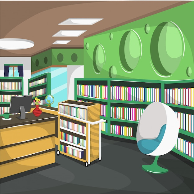 Highschool library college with cupboard full of books Premium Vector