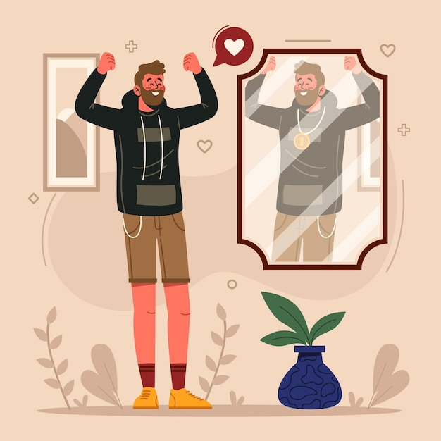 Hight self-esteem illustration Free Vector