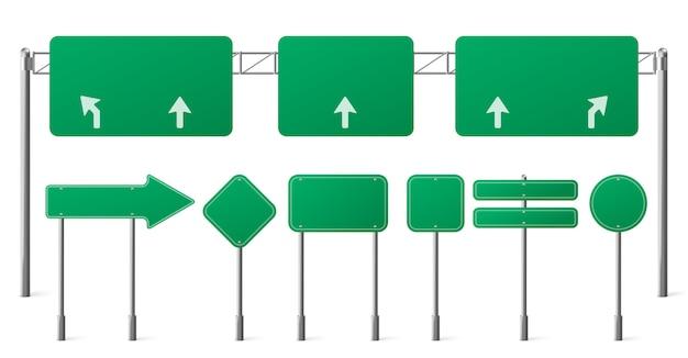고속도로 녹색 도로 표지판, 도시 교통 방향을 가리키는 강철 기둥에 빈 간판 보드 무료 벡터