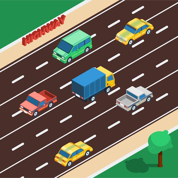 Highway isometric illustration Free Vector