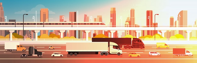 Highway road with cars, lorry and cargo trucks over city background traffic concept Premium Vector