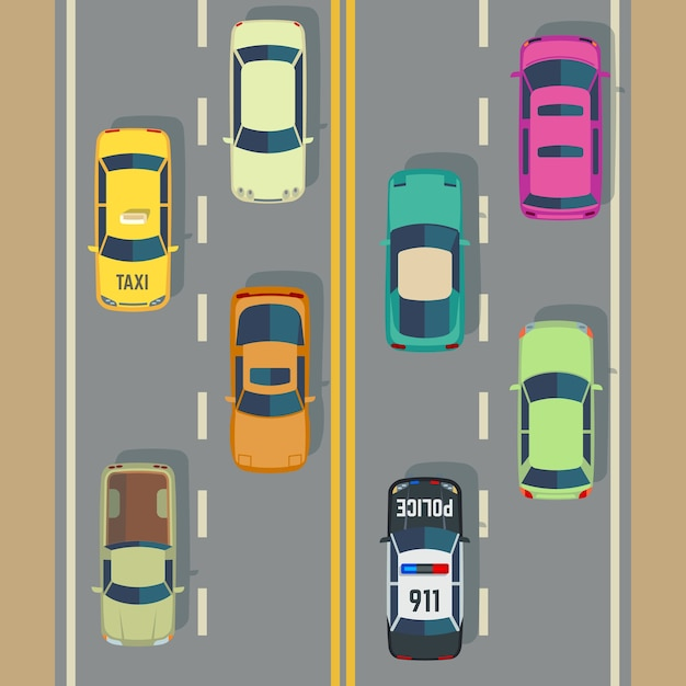 Highway traffic with top view cars and trucks street vector. traffic with police car and taxi, illus Premium Vector