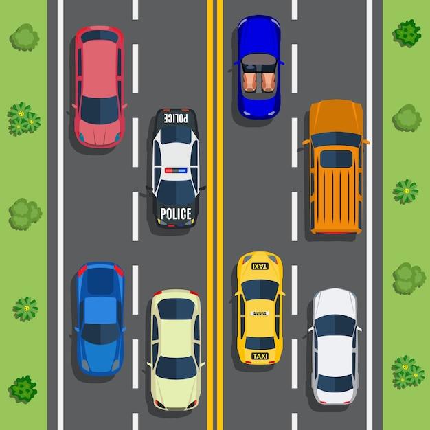 トップビュー車で高速道路交通 Premiumベクター