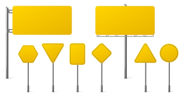 Highway yellow road signs, blank signage boards on steel poles pointing city traffic direction Free Vector