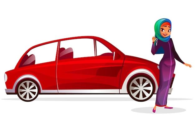 Арабская женщина и иллюстрация мультфильма автомобиля. современная богатая девушка в саудовской аравии hijab Бесплатные векторы