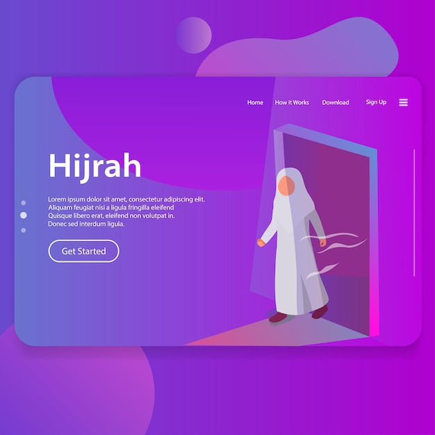 Hijrah illustration of islamic new year landing page ui web design Premium Vector