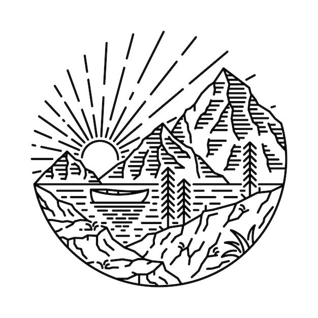 Озеро кэмп hike nature wild line графический рисунок art дизайн футболки Premium векторы
