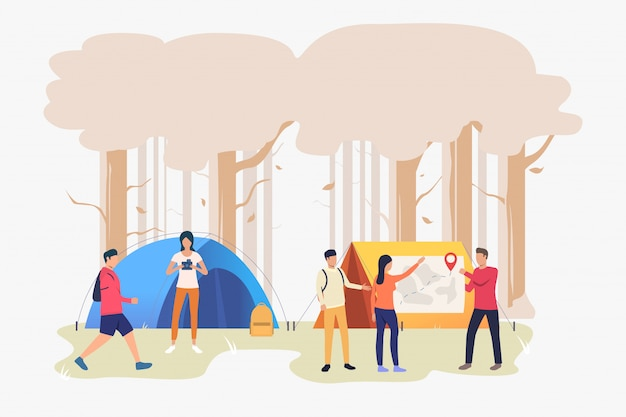 Hikers friends talking and examining map illustration Free Vector