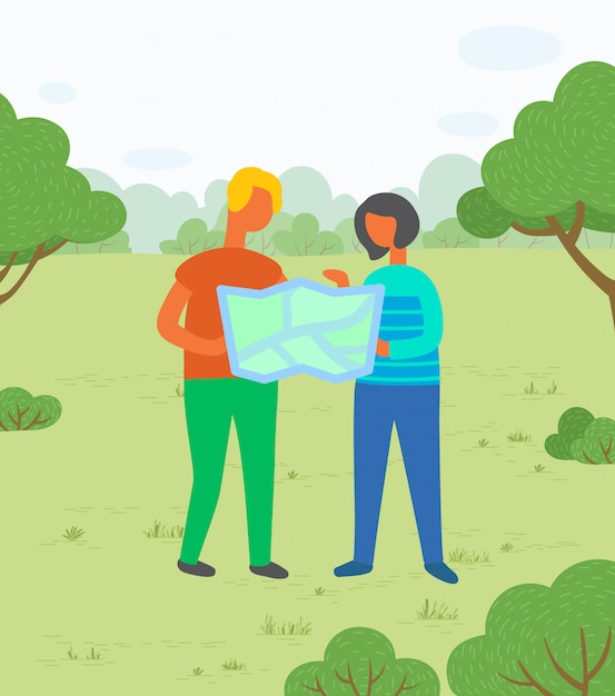 Hikers with map in city park, couple on meadow Premium Vector
