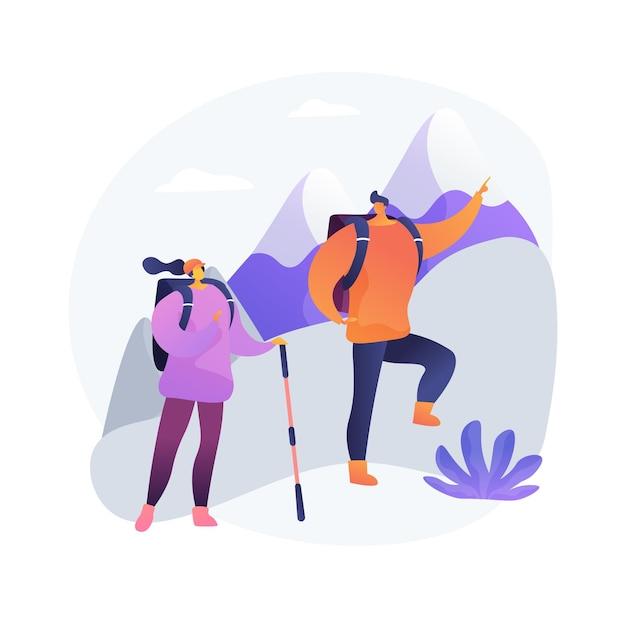 ハイキング抽象的な概念ベクトルイラスト。アクティブなライフスタイル、登山、アウトドアキャンプ、トレッキングトレイル、田舎の散歩、旅行の冒険、極端な観光、旅行の抽象的な比喩。 無料ベクター