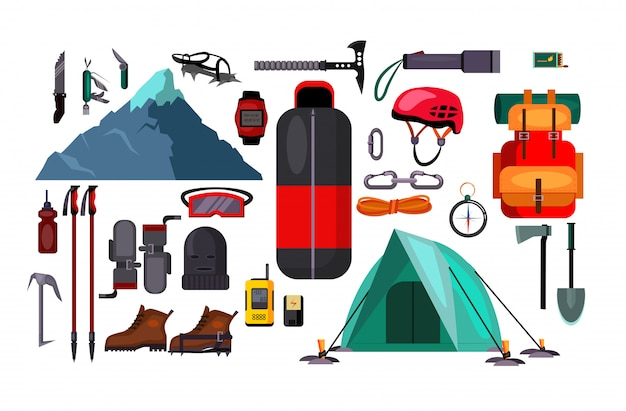 Hiking and active lifestyle set illustration Free Vector
