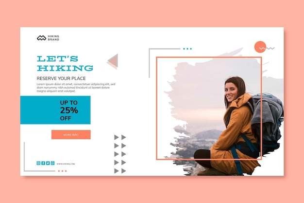 Hiking banner template with photo Premium Vector