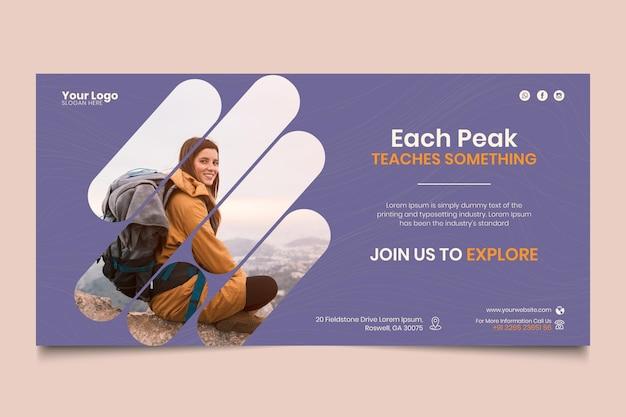 Modello di banner escursionismo Vettore gratuito
