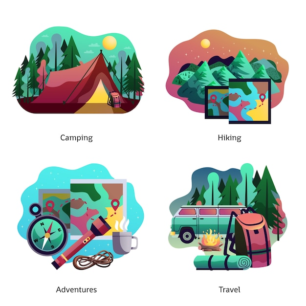 Hiking camping abstract concept Free Vector
