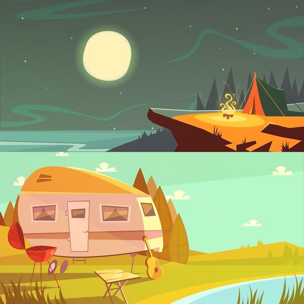 Hiking and camping cartoon horizontal banners set Free Vector