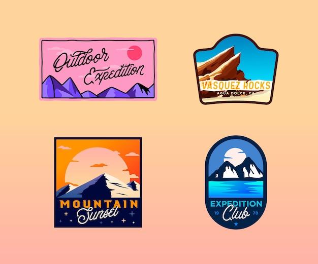 하이킹, 캠핑, 야외 배지. 황야 복고풍 빈티지 로고, 엠블럼 프리미엄 벡터