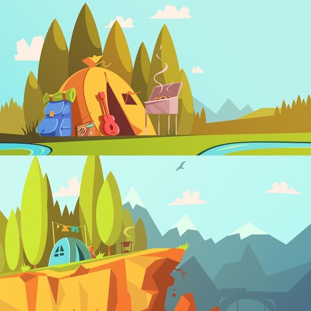 Hiking cartoon horizontal banners set Free Vector