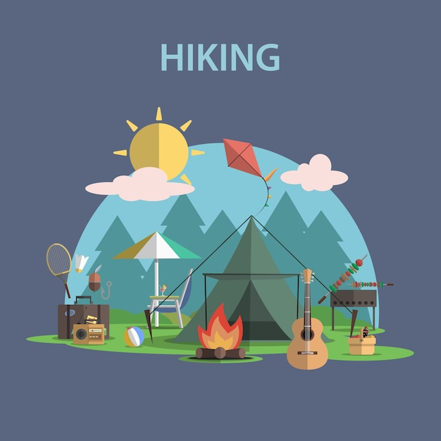 Hiking concept flat Free Vector