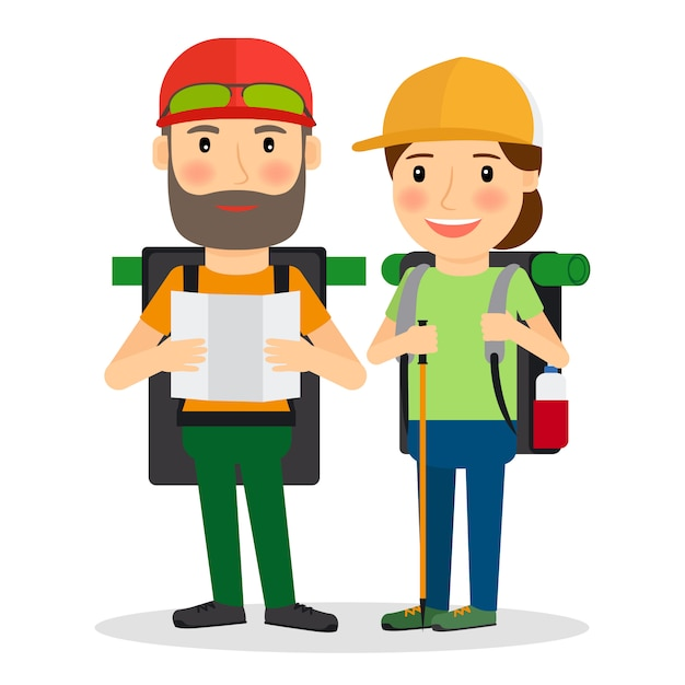 Hiking couple vector illustration Premium Vector