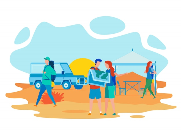 Hiking, educational expedition flat Premium Vector