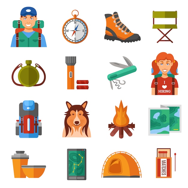 Hiking flat color icons set Free Vector