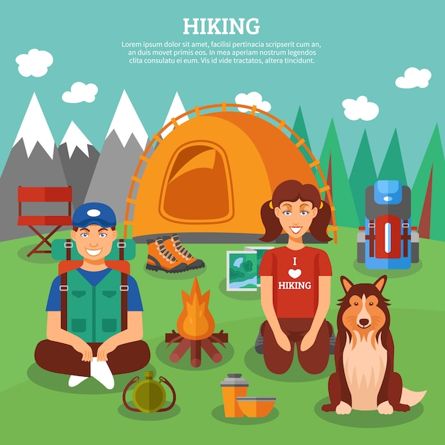 Hiking flat concept Free Vector