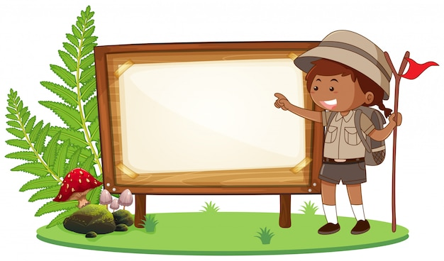 A hiking girl banner Free Vector