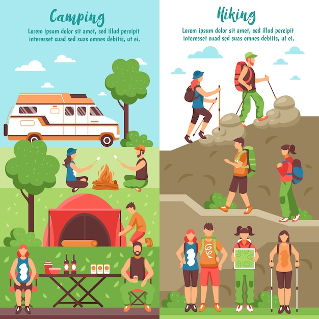 Hiking group vertical banners Free Vector