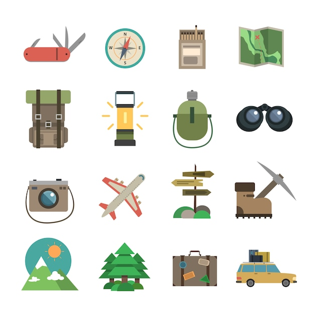 Hiking icons set flat Free Vector