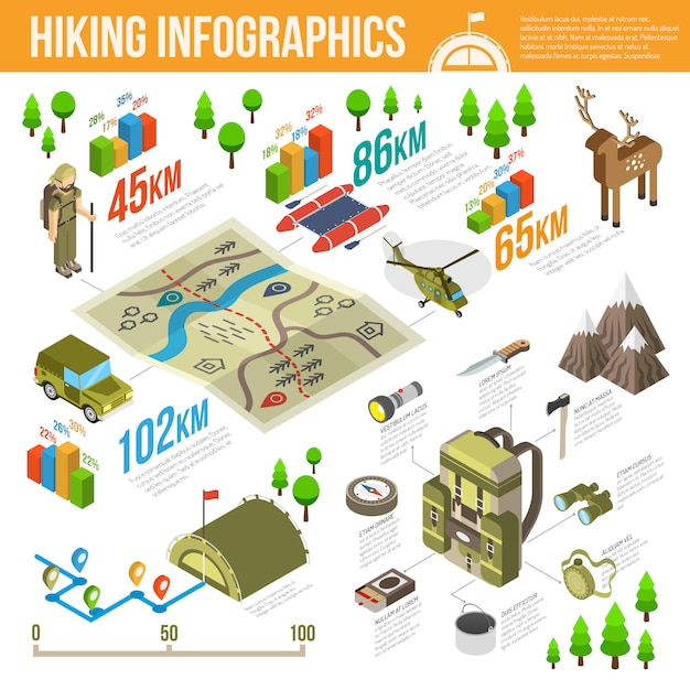 Hiking Infographics Set