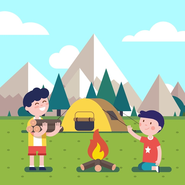 Hiking kids at the campfire