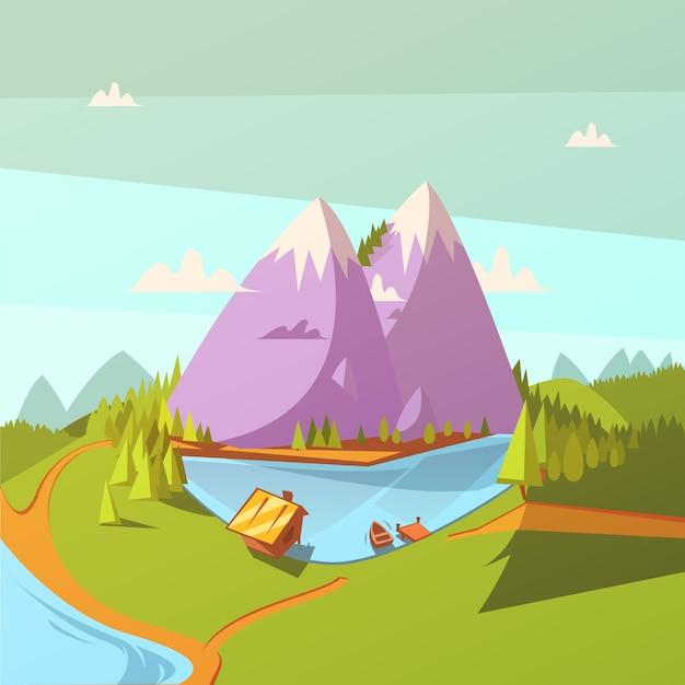 Hiking at a lake cartoon background Free Vector