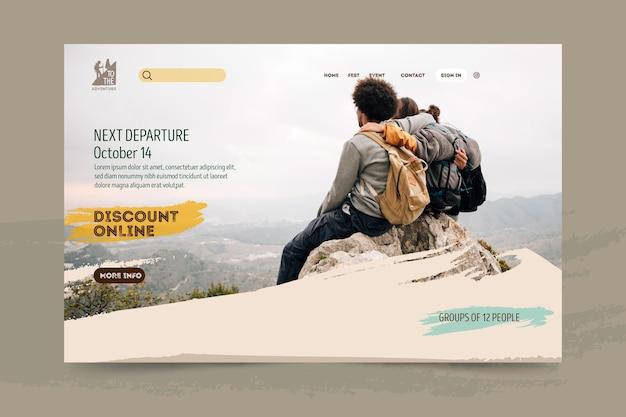 Целевая страница пешего туризма Бесплатные векторы