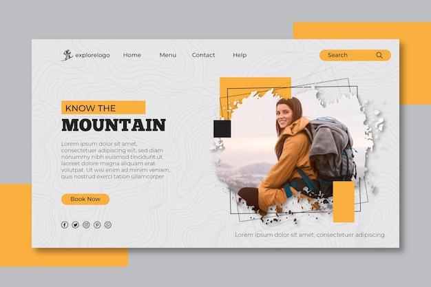 Pagina di destinazione escursionistica Vettore gratuito
