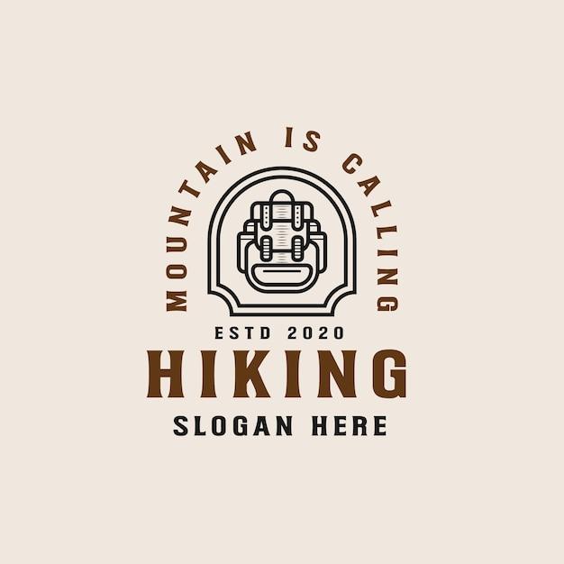 ハイキングマウンテンアドベンチャー線画ロゴテンプレート Premiumベクター