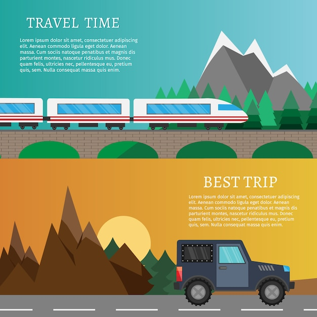 Hiking and outdoor set flat camping travel vector illustration. text template Premium Vector