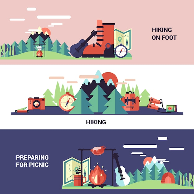 Hiking and picnic banners Free Vector