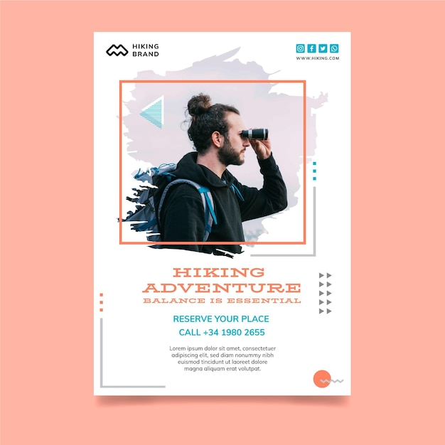 Hiking poster template with photo Premium Vector