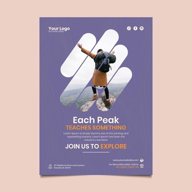 ハイキングポスターテンプレート 無料ベクター