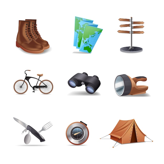 Hiking realistic decorative icons set Free Vector