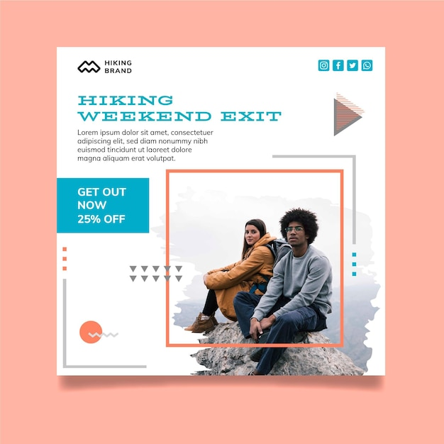 Hiking square flyer template with photo Premium Vector