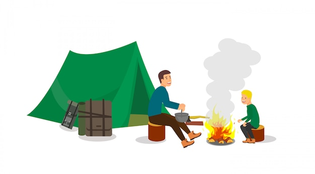 Hiking with stop campsite for children and adults. Premium Vector