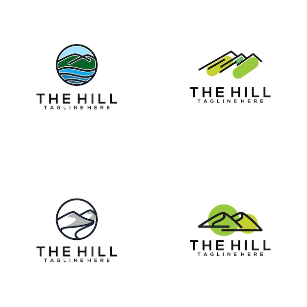 The hill logo collection Premium Vector