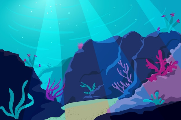 Hills of corals background for online video conferencing Premium Vector