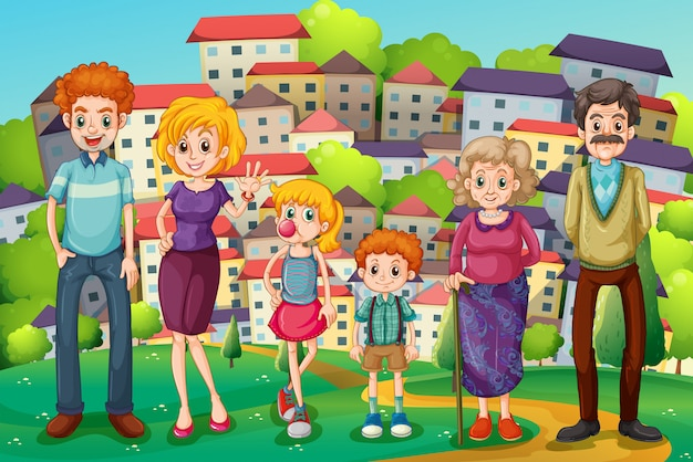 A hilltop with a big family Free Vector