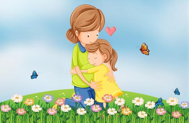 Collina con una madre che conforta il suo bambino Vettore gratuito