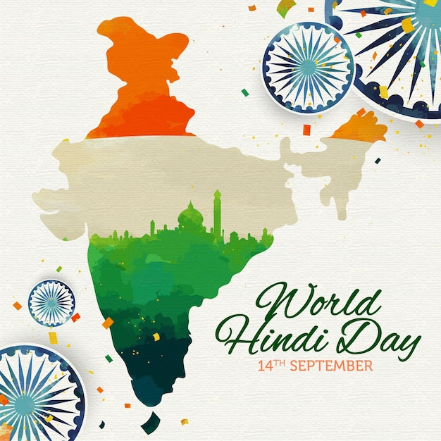 Hindi day with map and flag Premium Vector